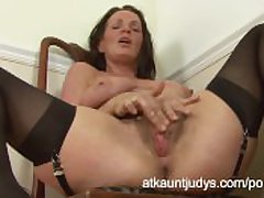 Classy cougar Marlyn strips and pleasures their way soft pussy