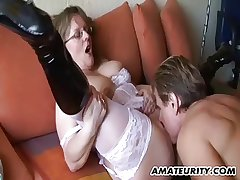 Amateur Milf give big tits sucks with the addition of fucks give cum