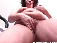 Chubby grandma with heavy tits overage say no to aerobics with a pussy rub