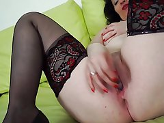 Grand Mature in Stockings Masturbates