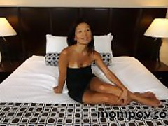 Horny asian milf drag inflate with the addition of enjoyment from