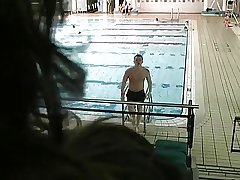 Brunette Mature Attracting Beyond Young Swimmer
