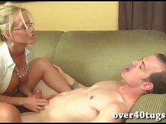 Gaffer blonde milf gives a soaked handjob