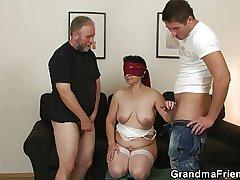 Granny gets her hairy hole filled with team a few cocks