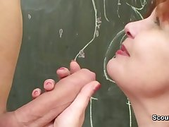 German Female parent teach young brat how two fuck hardcore lacking in condom