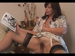 Domineer hairy mature black-hearted babe poses and strips