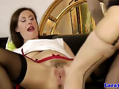 Classy mature pussylicking euro on touching stockings
