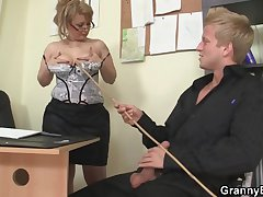 Sexy old column rides his cock up get under one's office