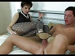 Hot Footjob from chap-fallen mature Spliced