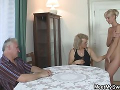His GF and parents involving hot threesome
