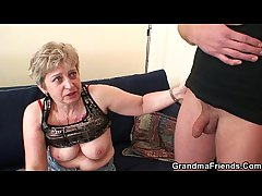 Horny granny takes two cocks at once