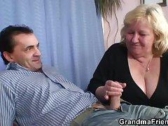 Grandma decarbonated two cocks then fucks