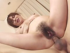 Full-grown asian milf filled near two cocks in a threeway