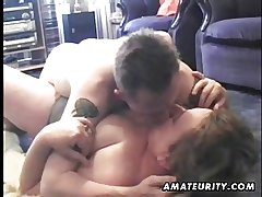 Mature and busty dilettante wife sucks and fucks a young guy