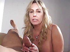 Mature cigarette smoking cock sucking grandma gets a load on her Bristols