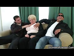 A handful of dudes fuck totally boozed granny