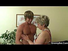 Hot chap bangs lonely granny