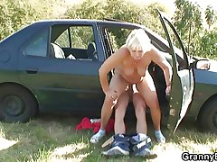 She rides my horny cock right nearly the car