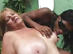 Pitch-black Tranny anb Blonde Granny - Part 1