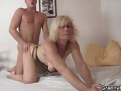 Grown up blonde takes it from behind