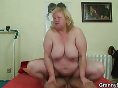 Grown titted granny tastes luscious load of shit