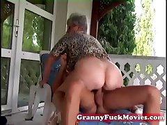 Outdoor shacking up grandma