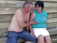 German old BBW Mom get adulterated and fucked outdoor