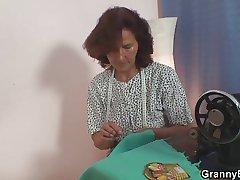 He slams sewing granny non-native behind