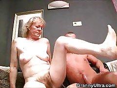 Hairy Granny Flannel Sucks Plus Gets Fucked