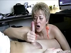 Naughty Mature Handjob Nearly Car