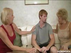 A handful of Blonde Grannies Suck A Big Cock