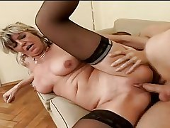 Hot Granny Alena Sits Vulnerable Face Coupled with Takes A Big Four
