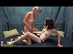 OldNanny Pretty teen unladylike is bringing off with old grandma with sextoy strapon