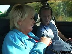 Granny is picked on every side detach from chum around with annoy road and fucked