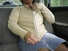 Redhead-BBW-Granny Absent from in a Car by 2 Guys
