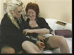 two aged lesbo ladies with toys