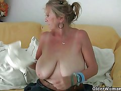 Grandma with chubby tits masturbates with the addition of gets finger fucked