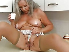 Horny grandma in pantry