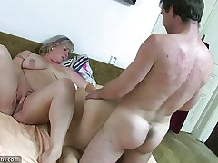 OldNanny Chubby granny bathed and then has trilogy