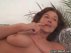Grandma enjoys duo young cocks
