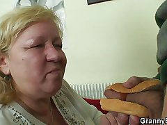 Plump cock itchy granny with the addition of boy