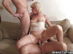 Throw over granny swallows four cocks