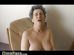 OmaPass Very venerable Chubby Granma has sex with household goods
