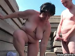Chubby grandma helter-skelter disturb hard nipples gets fucked outdoors