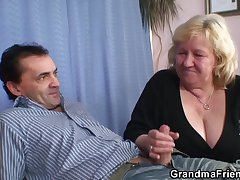 Busty granma in stockings takes one cocks