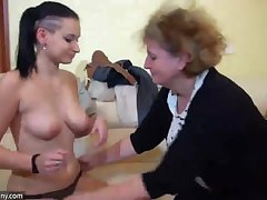 Ancient Granny with young Girl, granny masturbate with a trifle increased by with young Gir
