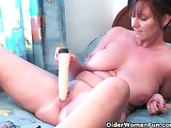 Ritzy granny plays up her dildo collection