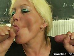 Two studs fuck granny cram
