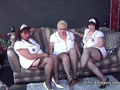 Twosome bbw grannies in nurses outfits