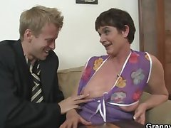 Her queasy old cunt gets hammered by mannered load of shit